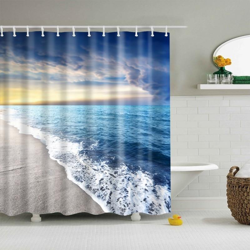 2017 Horizon Version Multi-styles 3D HD Digital Printed Shower Curtains Waterproof Moisture-proof Bathroom Curtains Case