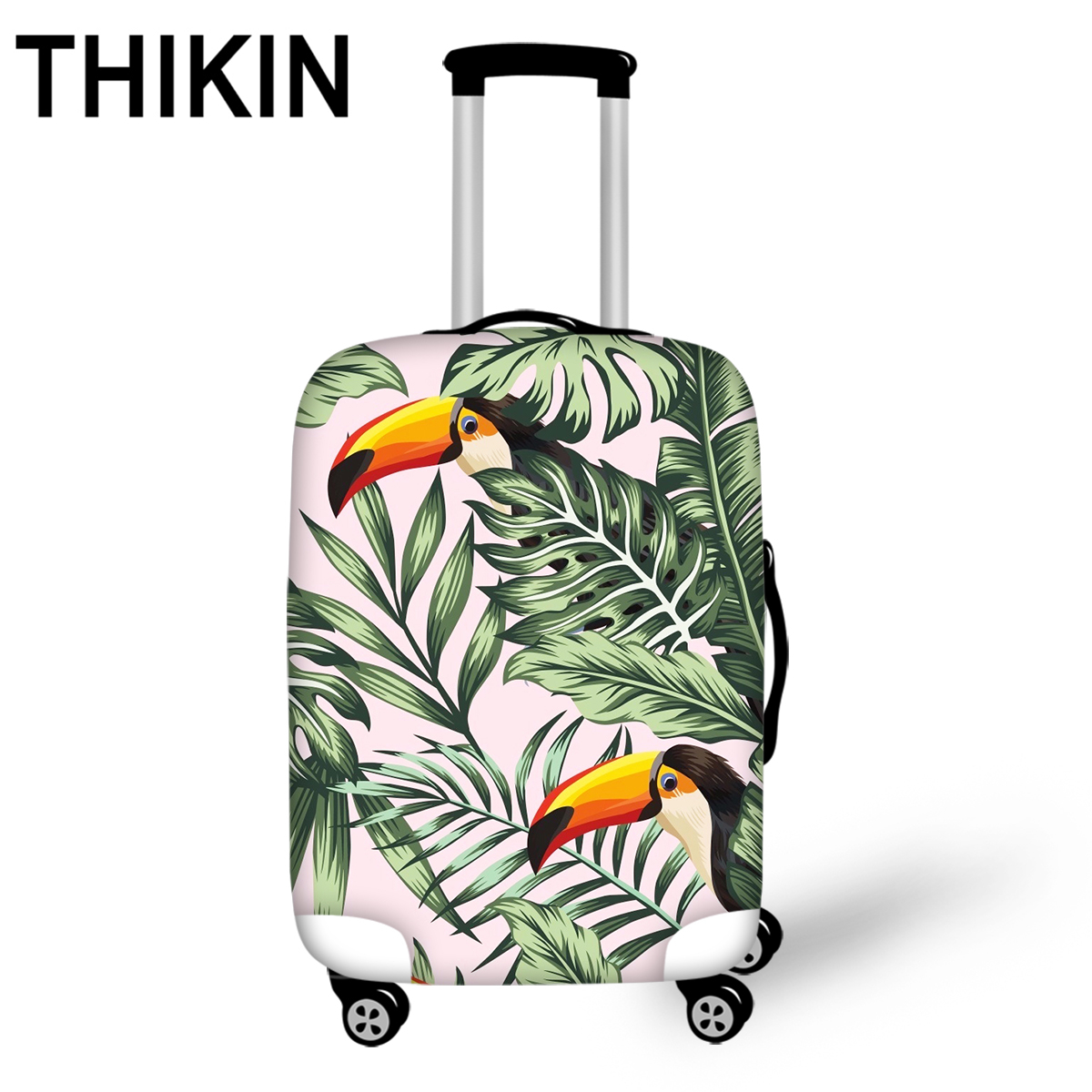 THIKIN Palm Tree Leaf Print Luggage Covers Popular Cartoon Toucan Accessory Bags Travel Luggage Protector Cover Suitcases Covers