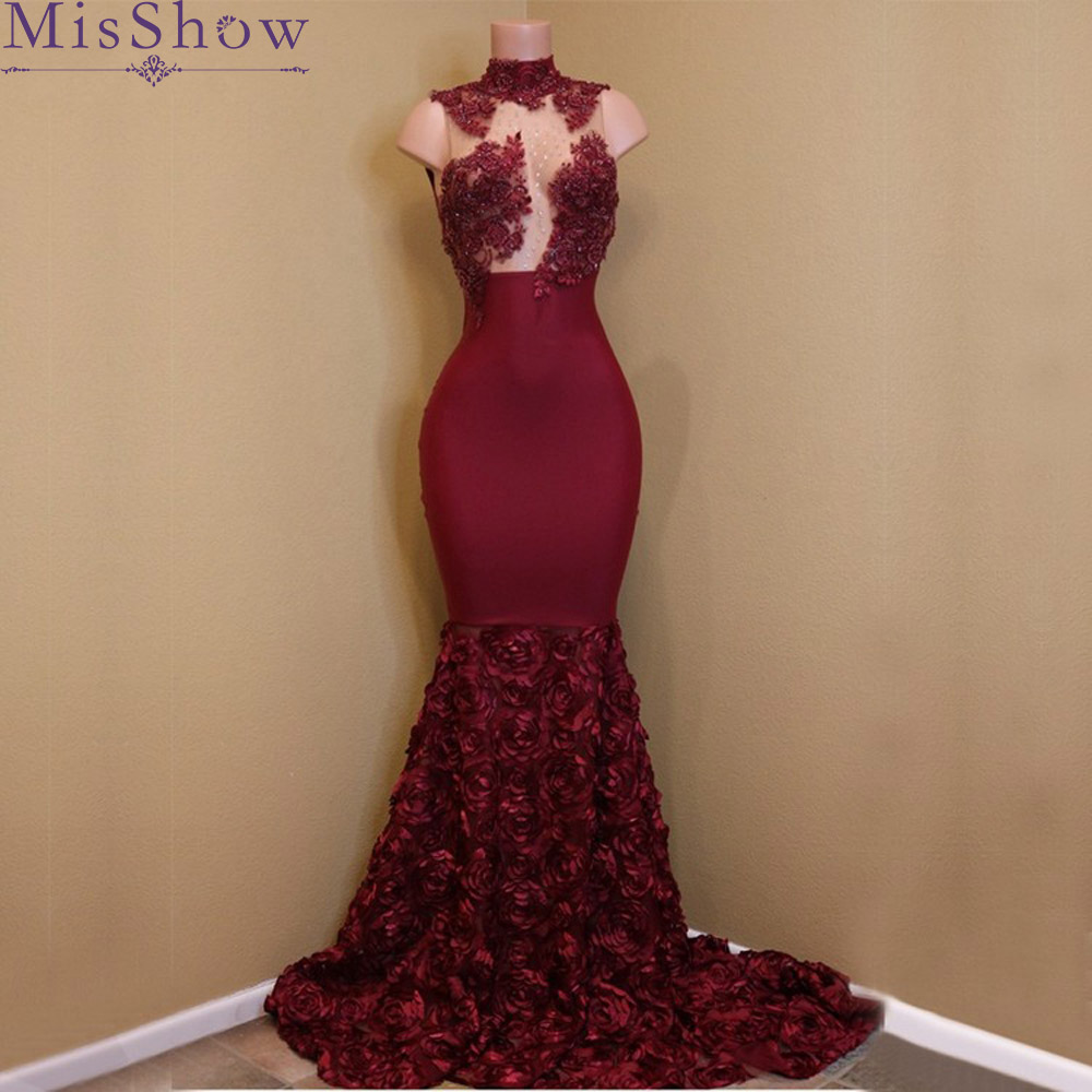 2019 Burgundy Sexy African Women Mermaid   Prom     Dresses   Applique High Neck Lace Long Slim Ruffled Sweep Train Evening Gowns