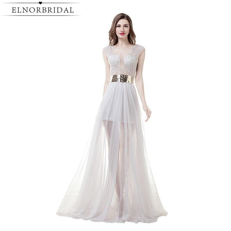 Համեստ Sheer Beach- ի հարսանյաց զգեստներ Long 2019- ի էժան ամառային Vestido De Noiva Plus Size See With Wedding Gowns Ձեռագործ