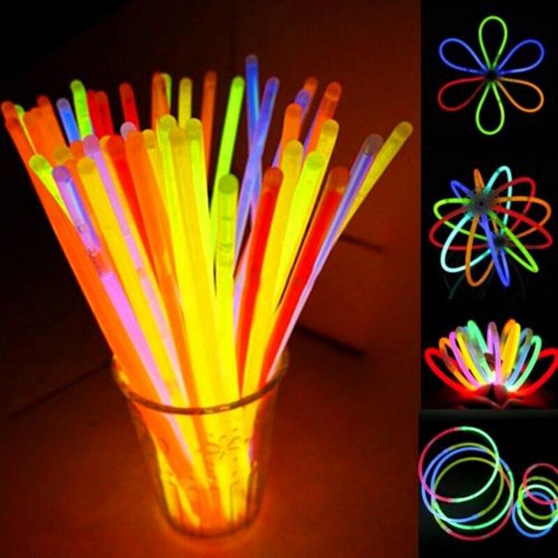 200Pcs/Lot Multi Color Glow Stick Fluorescence Luminous Bracelets Necklaces Party Event Light Xmas Festivities Light Sticks