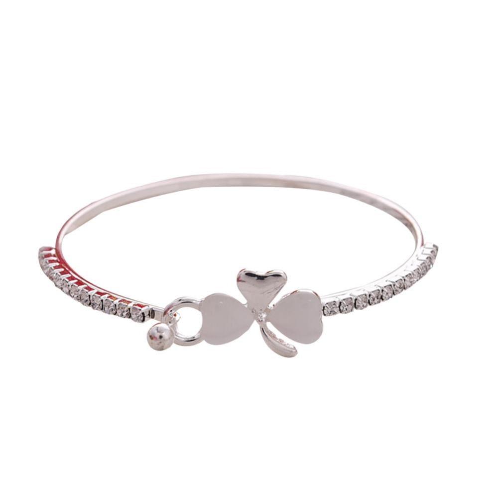Korea Style Sweet Clover Bracelets Cute Pretty Love Heart Opal Flower Bowknot Bracelet For Women Wedding Gift