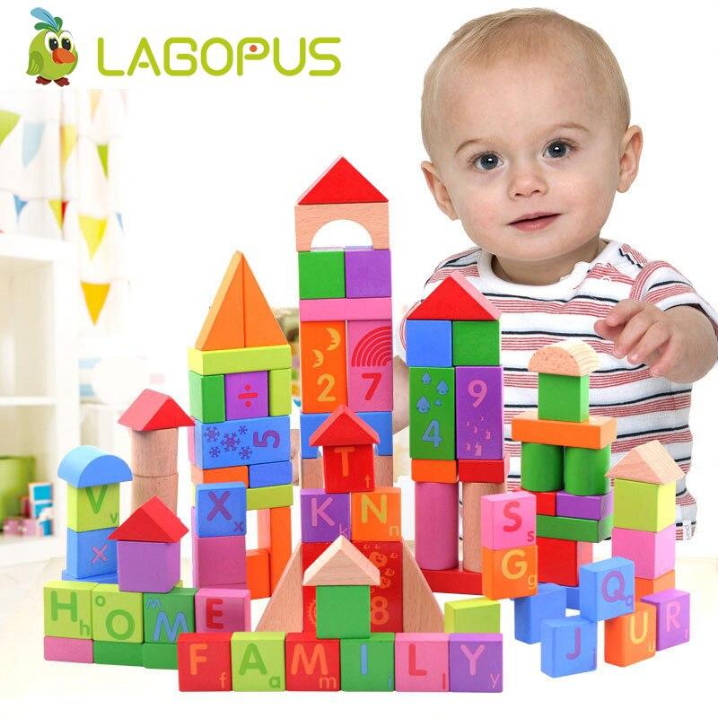 Lagopus 100Pcs Wooden Building Blocks Kids Toy Set Children Play Educational Toddler Toys
