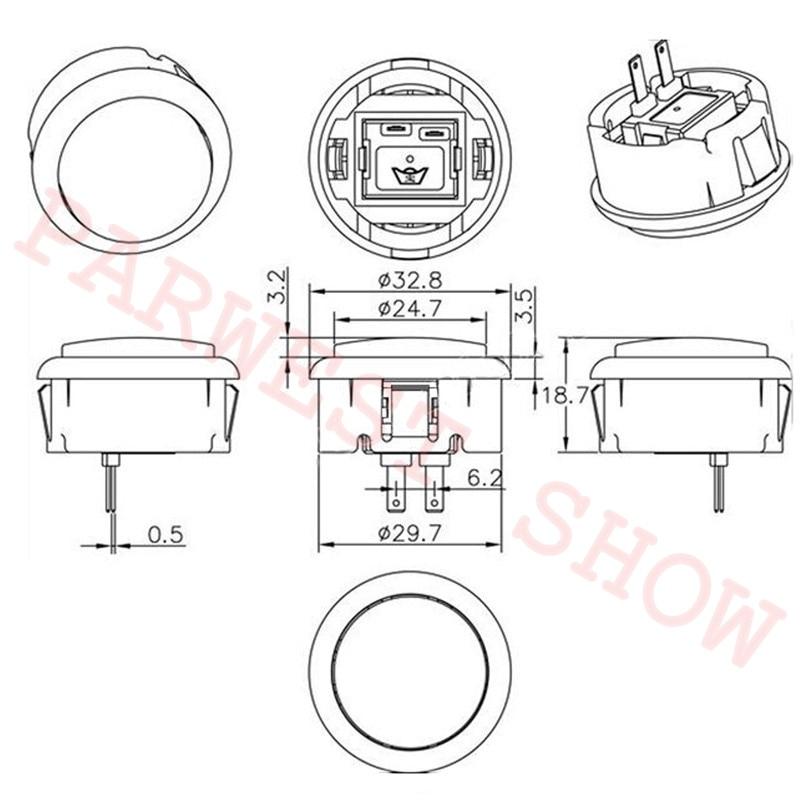 30mm Round Push Button Baolian Arcade Button Sanwa