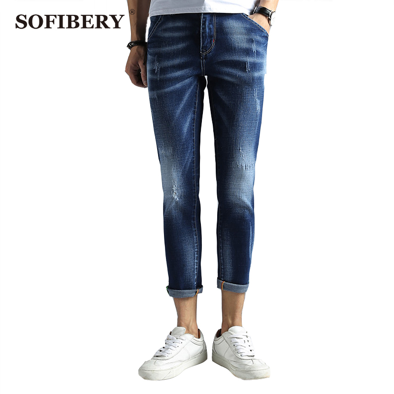 ФОТО  SOFIBERY  Brand Spring Summer Ankle Jeans Men Denim Slim Fit Jeans for Men Comfortable Jeans Trousers Pants for Men M1023-366