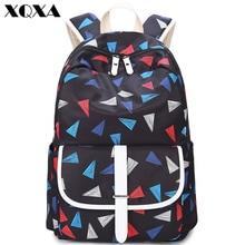 Xqxa Треугольники печати Сумки-холсты рюкзак Для Женщин Casaul Daypacks школа рюкзак для подростков Обувь для девочек ноутбук сумка Mochila feminia
