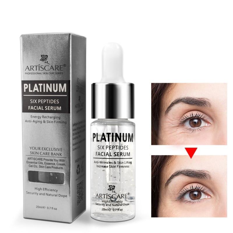 Platinum Six Peptides Serum Hyaluronic Acid Anti-Wrinkle 24K Gold Face Essence Anti Aging And Whitening Skin Care 20ml