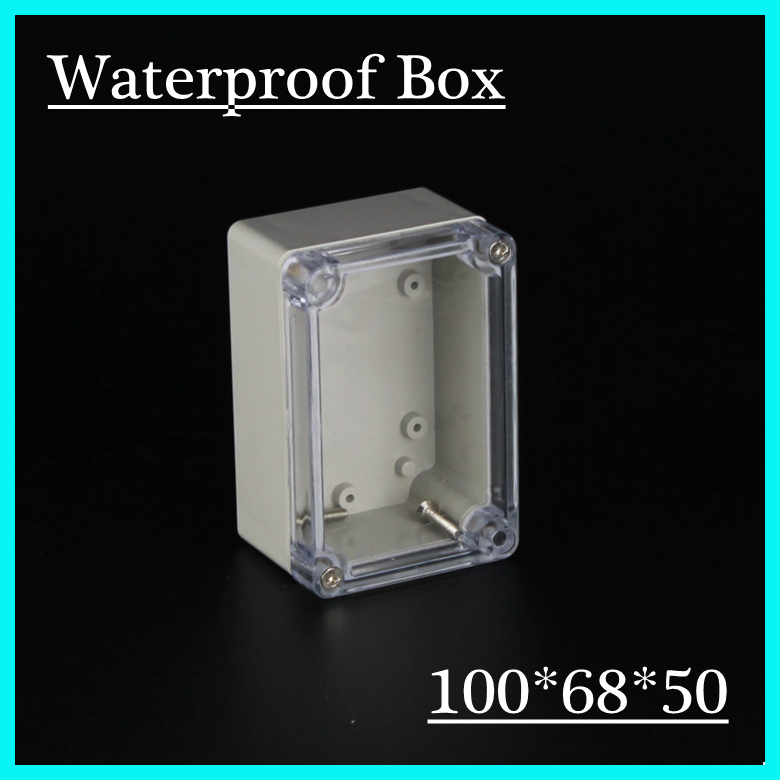 (1 piece/lot) 100*68*50mm Clear ABS Plastic IP65 Waterproof Enclosure PVC Junction Box Electronic Project Instrument Case waterproof abs plastic electronic box white case 6 size