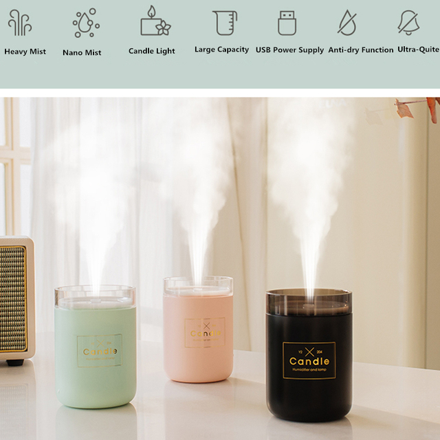 280ML Ultrasonic Air Humidifier Candle Romantic Soft Light USB Essential Oil Diffuser Car Purifier Aroma Anion Mist Maker