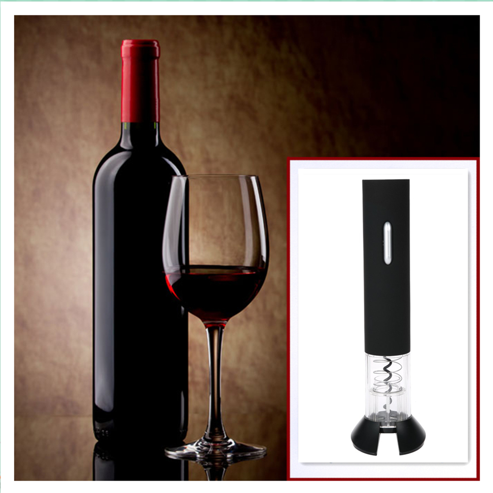 Honey Trendy Home Stainless Steel Barware Nickel Battery Electric Automatic Cordless Wine Corkscrew Bottle Opener Foil Cutter