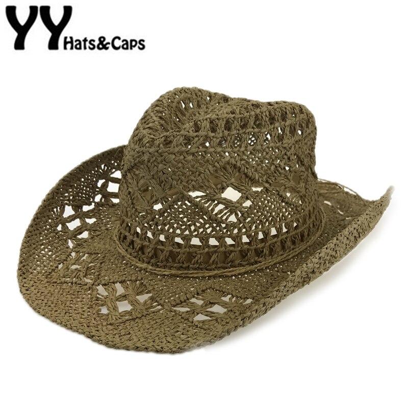 Hecho a mano paja Sunhat Hombres occidentales vaquero casquillo de la playa  del verano mujeres sólido hueco Jazz de paja Sombrero de paja Hombres  YY17167 208a6d2961e