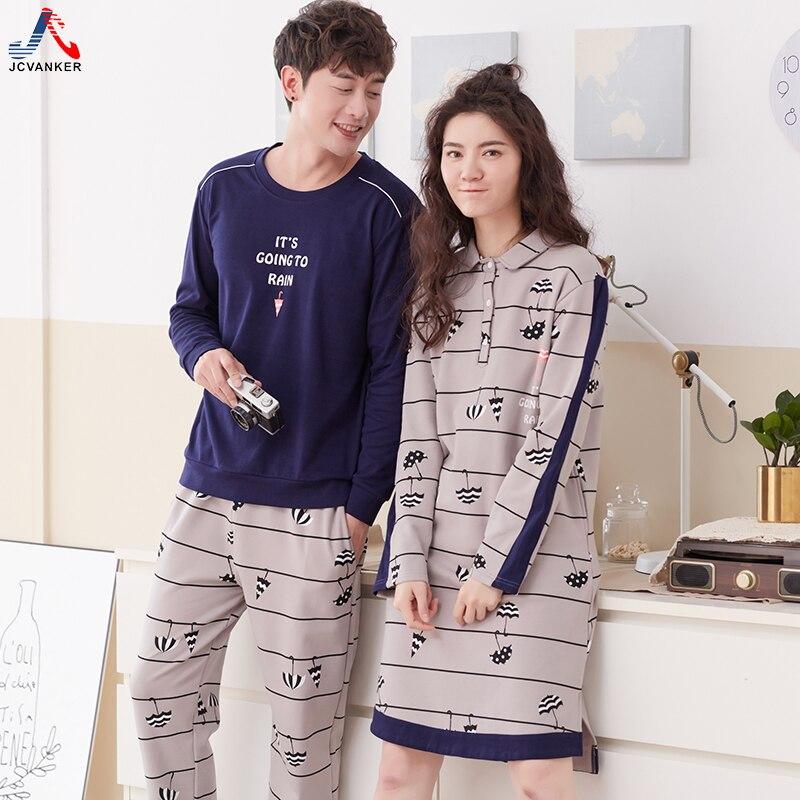 JCVANKER 100% Cotton Couples Pyjamas Suit For Women Nightgown Man Pijama Set Long Sleeve High Grade Spring Sleepwear Nightwear