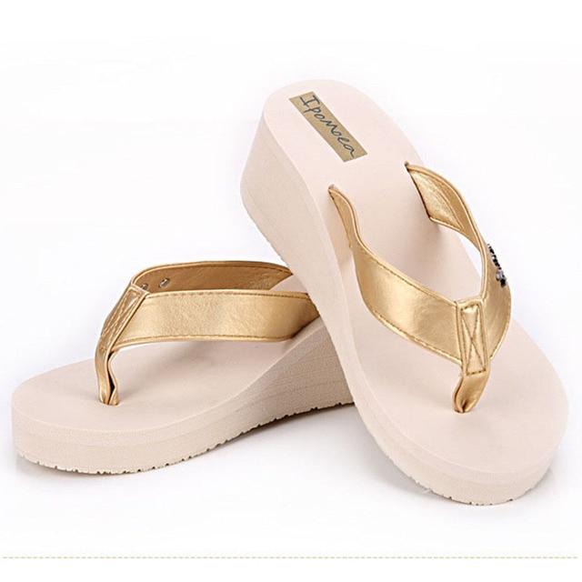 961ee0e0a0b8 Fashion women beach sandals muffin slippers summer women s high-heeled  sandals candy color flip flops