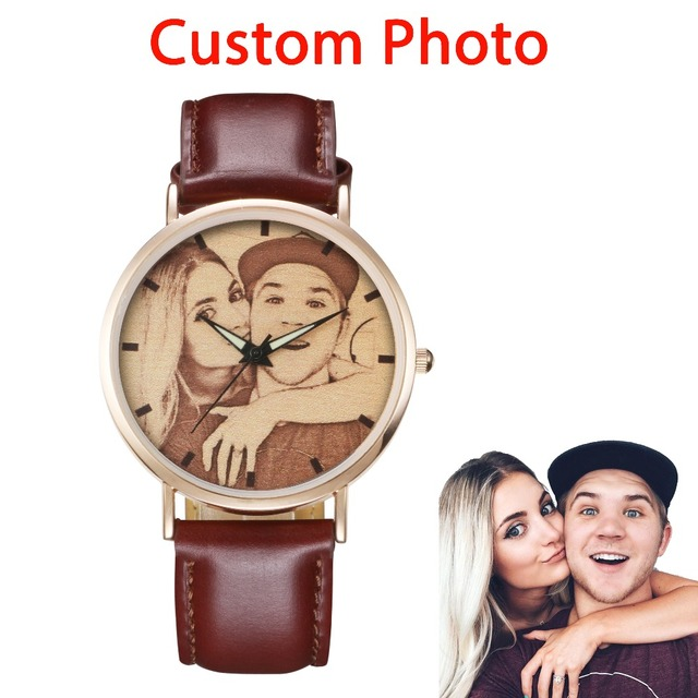 Unique Design Customized Photo Print Watch Fashion Creative Leather Wrist Watches Anniversary Gifts For Men Women