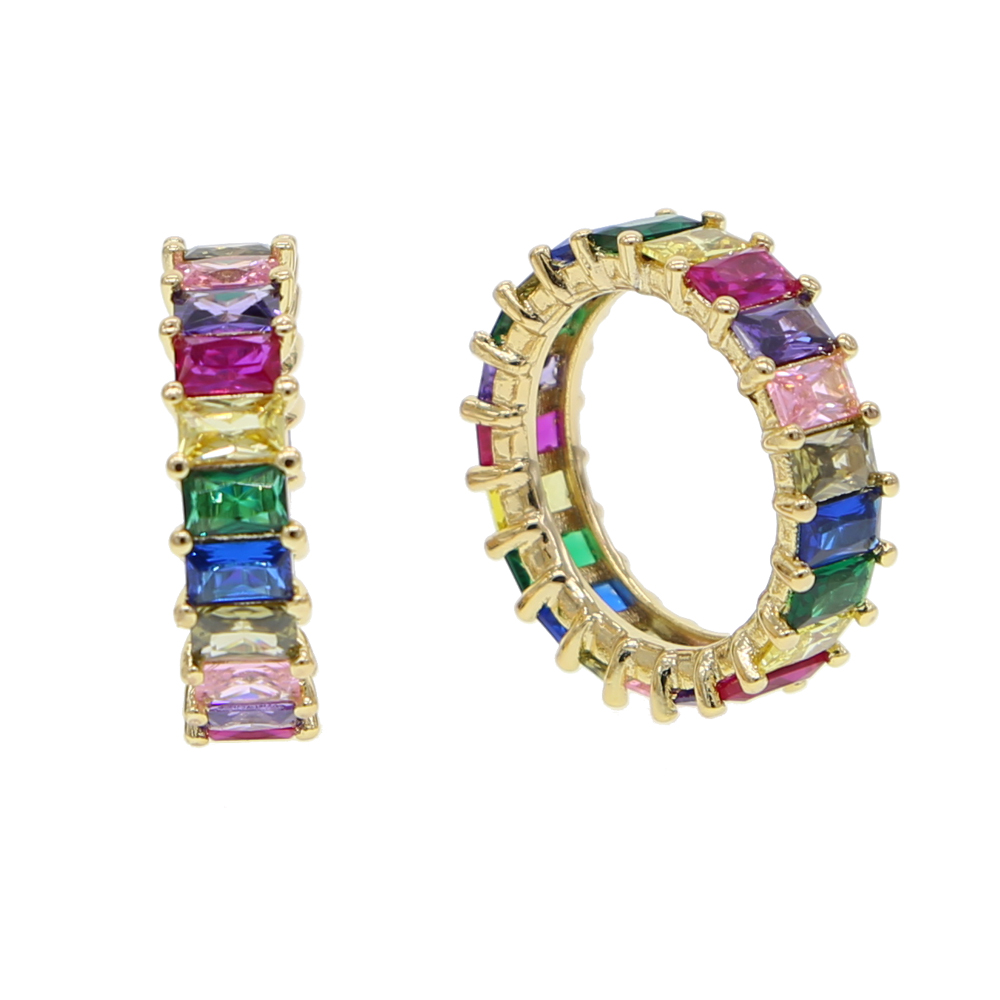 multicolored stones band ring baguette cz eternity band zirconia elegance luxury fashion gold color jewelry for men women
