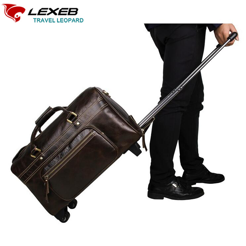 Carry-On Luggage, Wheeled Travel Duffle Bag For Suit LEXEB Men's Business Genuine Leather Rolling Suitcase 21 Inch Coffee