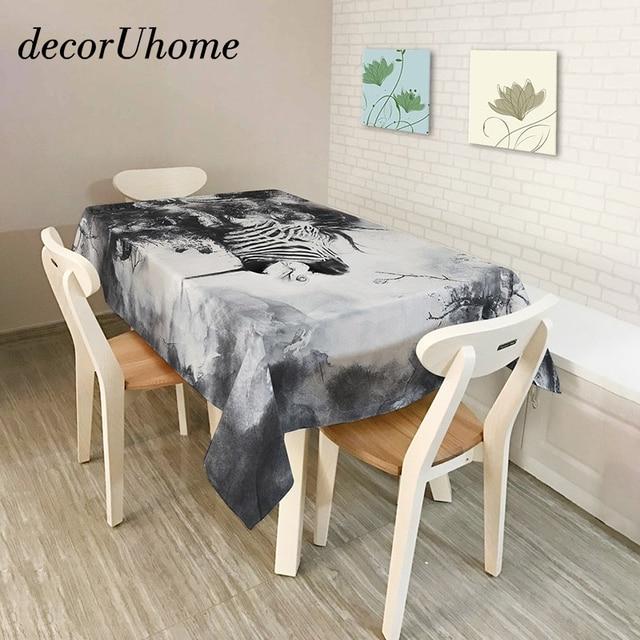 decorUhome Polyester Waterproof Rectangle Tablecloths Retro Folk