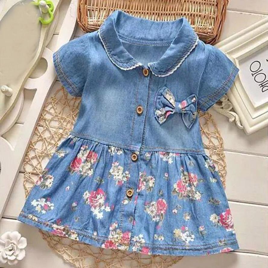 ARLONEET Toddler Baby Girls Floral Print Bowknot Short Sleeve Princess Denim Dress Outfit Dropshipping Mar14
