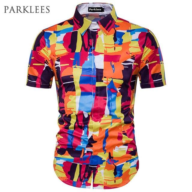 757baf18028a1 Abstract Printed 3D Hawaiian Shirt Men 2017 Summer Short Sleeve Casual  Beach Shirts Slim Fit Mens Cotton Chemise Homme Shirt Man