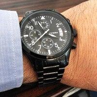 חמה למכירה SINOBI Mens טייס חדש מותג יוקרה העליון תאריך הכרונוגרף שעוני יד עמיד למים נירוסטה זכרים ז 'נבה Quartzwatch