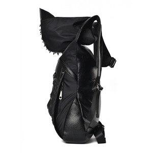 Image 3 - 大容量男性復元 3D クールライオンバックパックゴシックエンボスバッグ革 3D ショルダーバッグとフード旅行バックパック