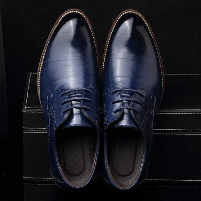 2017 Новый мужской Реального Натуральной Кожи Оксфорд Обувь Удобная Стелька Шнуровкой Бизнес Платье Обувь Мужчина Свадебные Обувь Высокого Качества