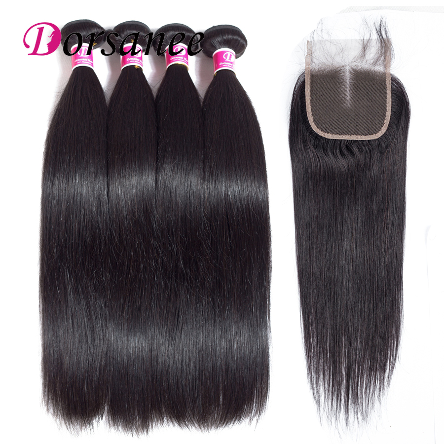 Dorsanee Peruvian Straight Hair Bundles with Lace Closure Non Remy Human Hair Bundles with Closure Pre plucked Natural Hairline