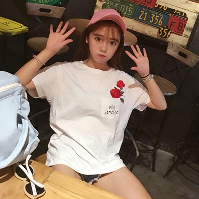 Harajuku Новое Лето Мода Карманные Роуз Печатные Любители Женщины Топ С Коротким рукавом футболки Сладкий Стиль Белый