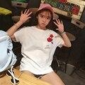 Rose Impreso Amantes de Harajuku Nuevo Bolsillo de La Manera Del Verano Mujeres de la Corto-manga de la camiseta Dulce Estilo Blanco
