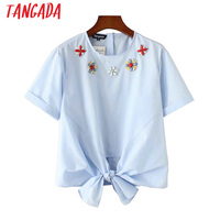 Tangada Women Floral Crystal Shirt Short Sleeve O-Neck Bow Tie Blue Blouses Female 2017 Summer Ladies Casual Shirts Blusas YD20
