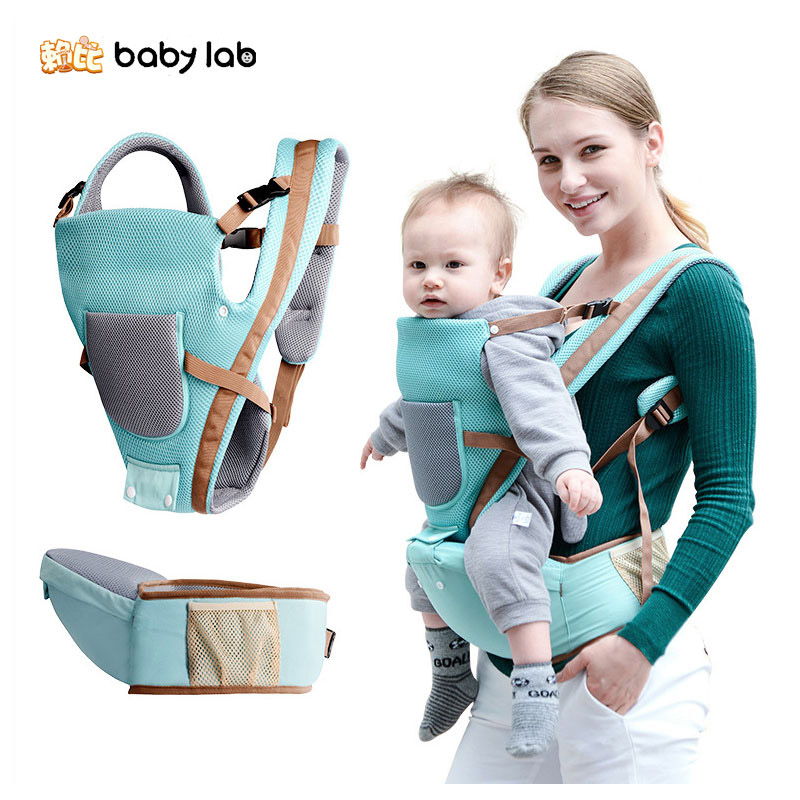 BabyLab Breathable Baby Waist Stool Straps Front Carry Baby Backpack Carrier Safety Harness Multi-function Kids Kangaroo Carrier