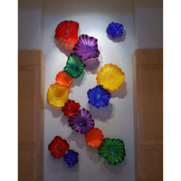 Creative Design Colorful Handmade Murano Glass Flush Monted Flower Wall Art Plate