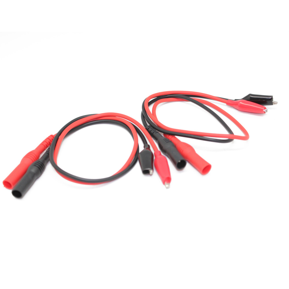 AideTek Insulated Two Alligator clips test leads wire banana plug 4 ...