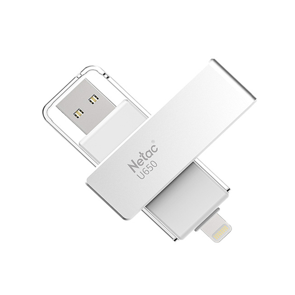 Netac U650 Lightning OTG Pen Drive USB 3.0 64GB Flash Drive for iPhone/iPad/iPod Apple MFI Certified U Memory Stick usb flash накопитель 128gb dm aiplay для apple iphone ipad ipod touch с разъемом lightning mfi белый
