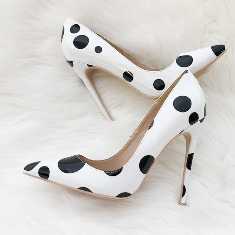 e779dd8bb3 ... 12cm High Heels Shoes Women Pumps Sexy Pointed Toe Wedding Party Shoes  Stilettos Black White Dot ...