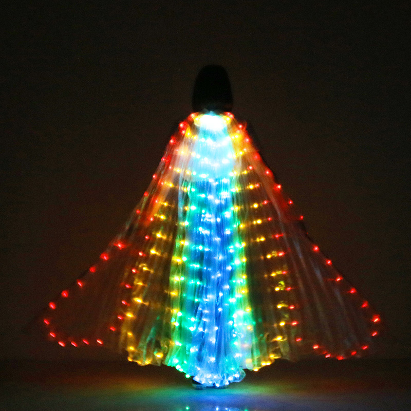 New Belly Dance Performance Prop Women Dance Accessories Girls DJ LED Wings Light Up Wing Costume LED Butterfly Wings Fan-shaped