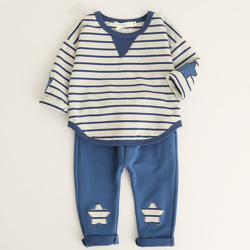 boys clothing set lucky child Baby Striped Cartoon Tops+ Pants Cute 2 Pieces Set Kids Cotton Confortable Suits For 1-4 Years iyeal fashion baby boys clothes set cotton long sleeve tops vest pants 3 pieces suit for kids boy children clothing 1 4 years