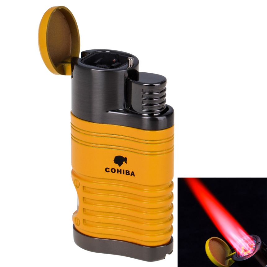 COHIBA Cigar Lighter Windproof Refillable Butane Torch Lighter 4 Jet Flame Lighters with Punch gas Cigarettes Lighter image