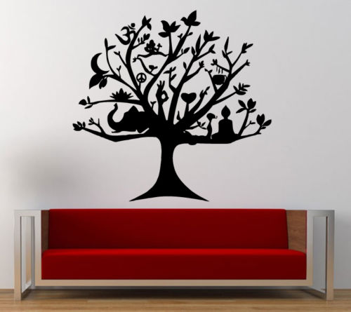 Buddha Wall Decal Melting Namaste Om Ganesh Yoga Buddha Tree Mural - Yoga studio wall decals