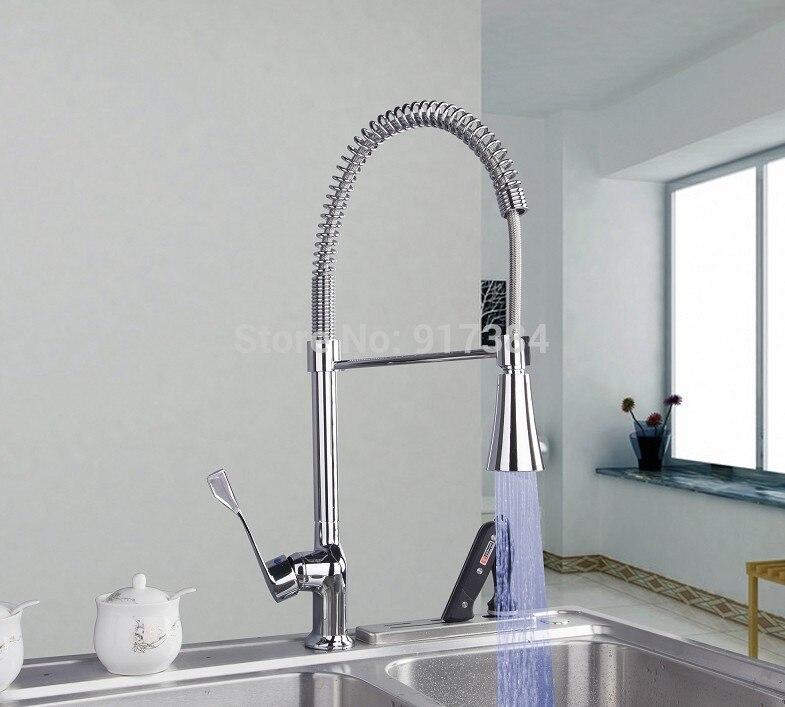 LED Perfect Kitchen Sink Basin Chrome Brass Mixer Tap Faucet JN8088