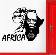 Autocollant mural en vinyle avec Applique, carte de voyage au pays africain, Art déco, pour salon, chambre à coucher, décoration intérieure, 2DT9