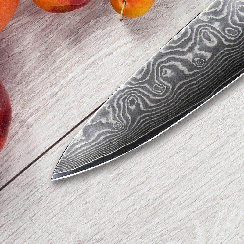 SUNNECKO 8 inç Şef Şam Çelik Pişirme Bıçak Japon VG10 - Mutfak, Yemek ve Bar - Fotoğraf 3