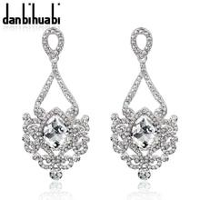 Bridal Earrings for Women Fashion Silver Plated Rhinestone Wholesale Crystal Drop Earrings Wedding Jewelry Brincos Grandes