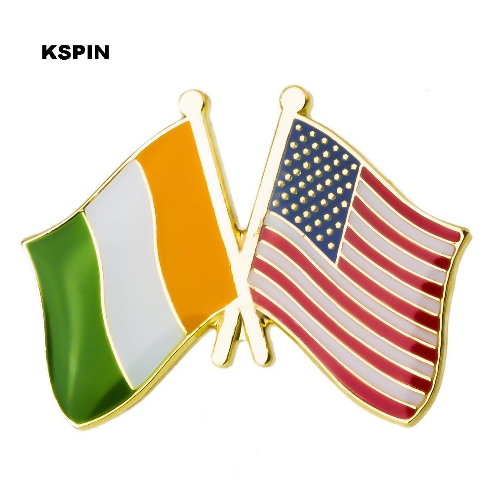 Insignia Ireland USA bandera de la Amistad insignia Rozet en insignias Rozet Bandera de Metal bandera Pin de solapa Pins XY0271-in Identificaciones from Hogar y Mascotas    1