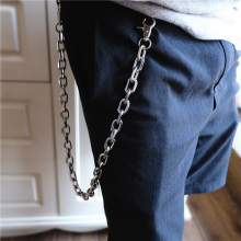 BLA Hip-hop Metal Stainless Steel Pants chain Fashion Punk Waist Chain Jeans Keychain Silver Keyring Men women Accessories