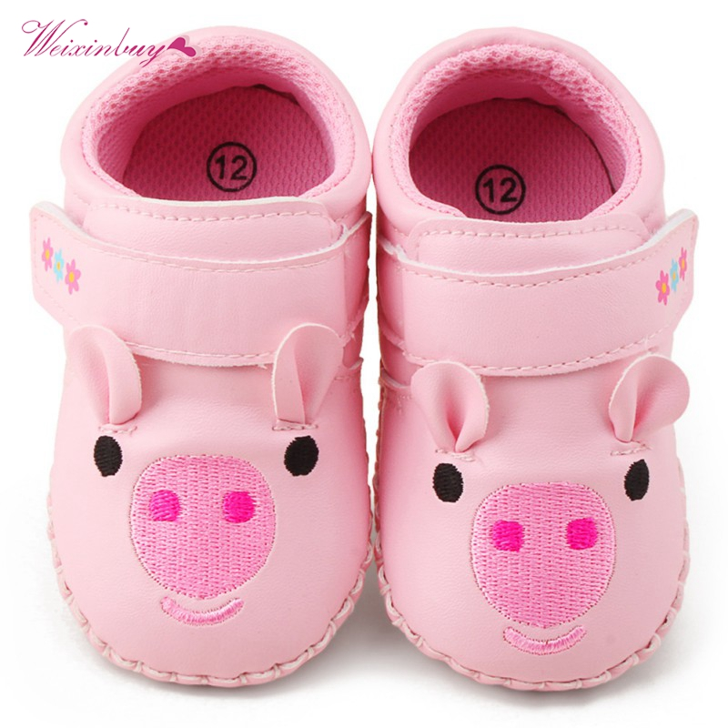 WEIXINBUY Baby Girls Shoes PU Toddler Cartoon Pig Embroidery Soft Shoes Spring Infant Anti-slip First Walker Crib Shoes