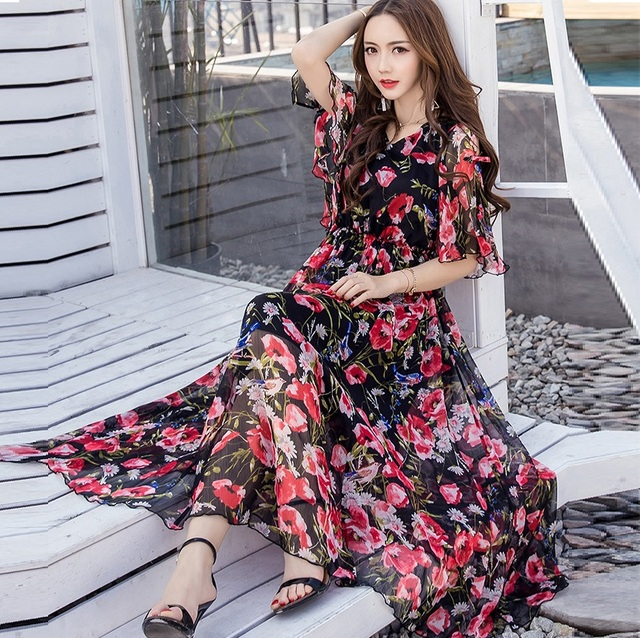 Summer women Floral Print long Chiffon Dress Elegant Vestidos flare sleeves cultivating Casual Bohemian beach dress XXXXL 18005