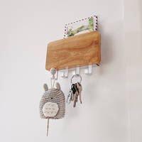 Decorative Wooden Key Hook Rack Hanger Mail Letter and Key Holder Organizer for Entryway Hallway Foyer Wall Mount lw57418py