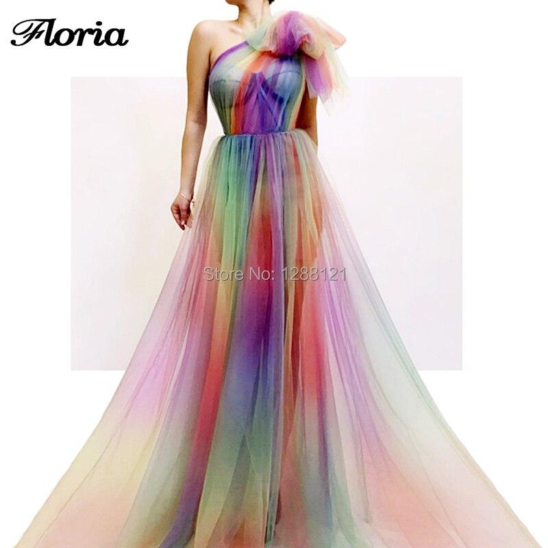 Multi Color Beach Long   Evening     Dresses   Robe De Longue Soiree One Shoulder Muslim Arabic Dubai Prom   Dress   2019 Party Gown Islamic