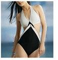 Plus Size Verão 2016 Biquínis Acolchoadas Empurrar Para cima Swimwear Mulheres Cintura Alta Neoprene Jersey Conjuntos de Sutiã Triângulo Beachwear Frete Grátis